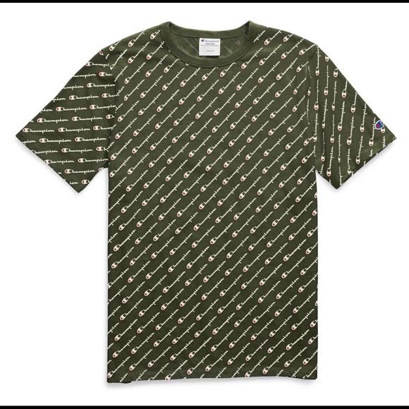 7d2fb736 Champion Shirts | Olive Green All Over Print Tee Size M | Poshmark
